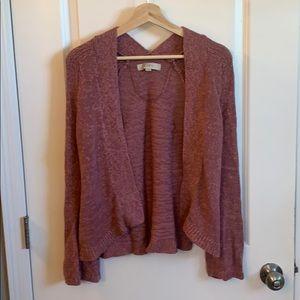 Loft mauve bell sleeve sweater cardigan